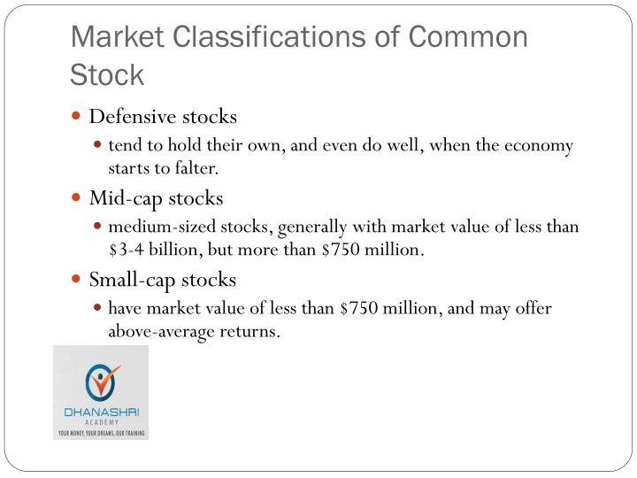 Market Classifications of Common