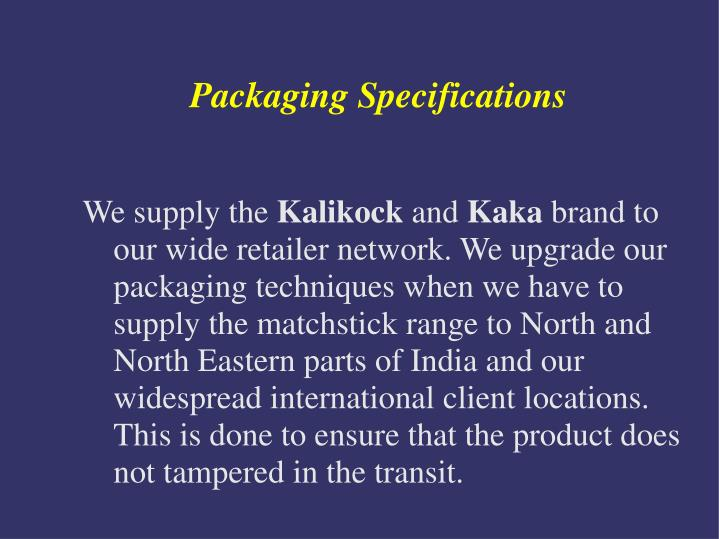 Packaging Specifications