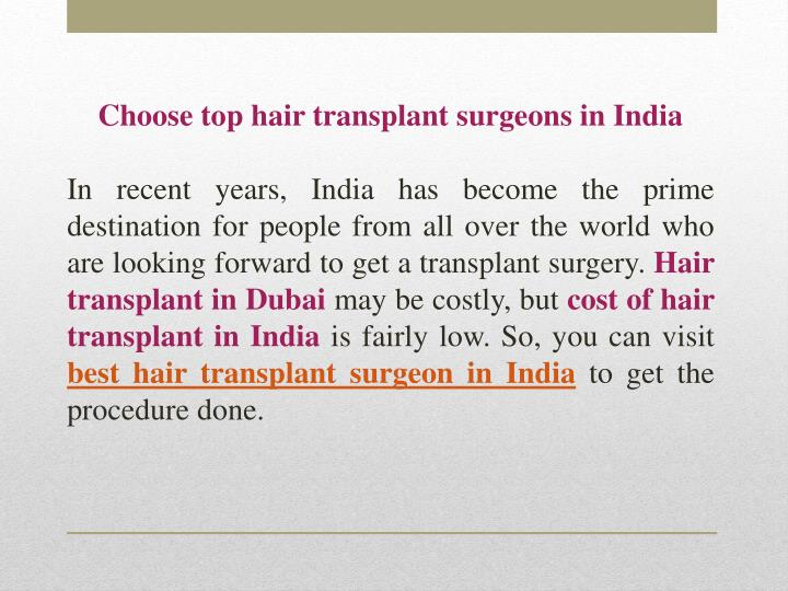 Choose top hair transplant surgeons in India