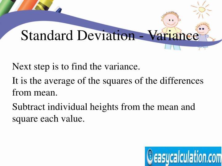 Standard Deviation - Variance