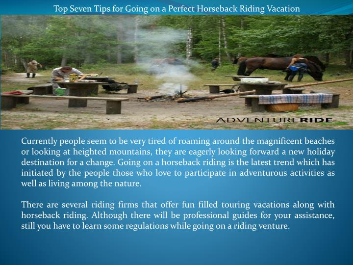 Top Seven Tips for Going on a Perfect Horseback Riding Vacation