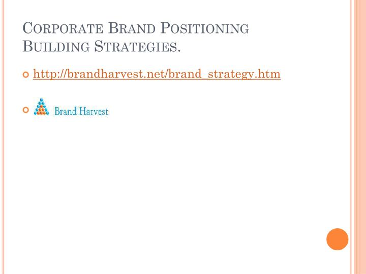 Corporate Brand Positioning Building Strategies.