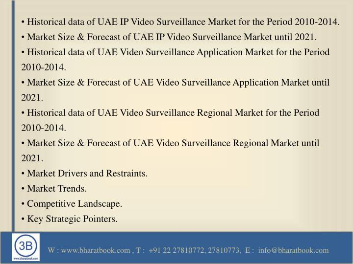 • Historical data of UAE IP Video Surveillance Market for the Period 2010-2014.