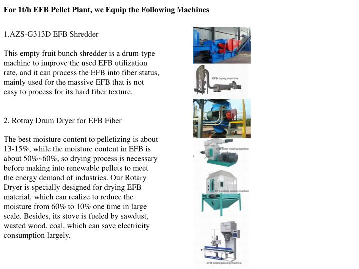 For 1t/h EFB Pellet Plant, we Equip the Following Machines