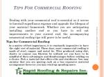 tips for commercial roofing