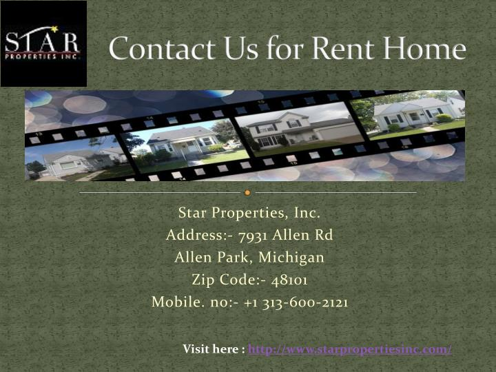 Contact Us for Rent Home