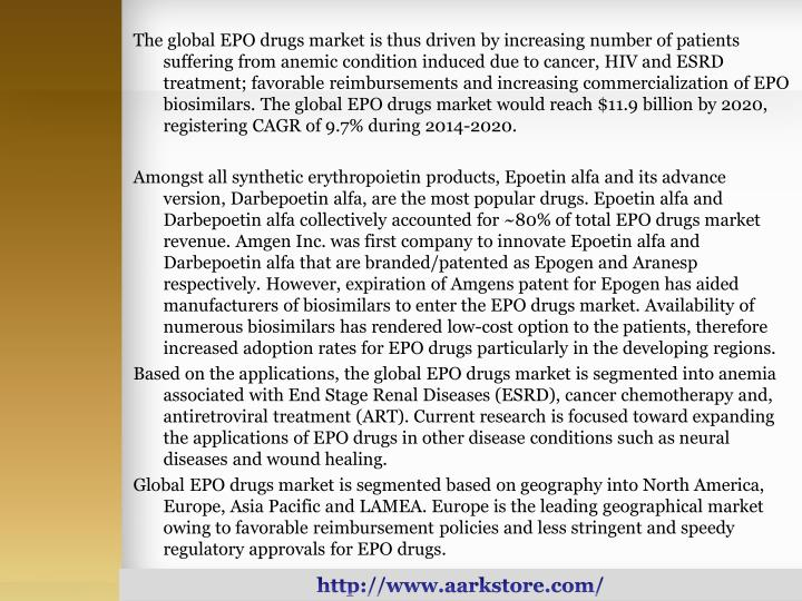 The global EPO drugs market is thus driven by increasing number of patients suffering from anemic co...