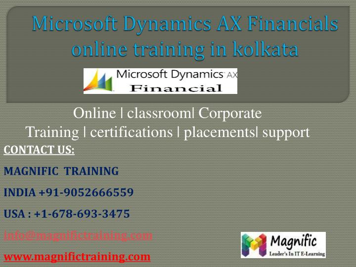 Microsoft dynamics ax financials online training in kolkata