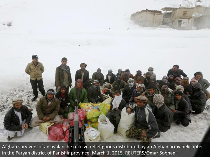 Afghan survivors of an avalanche receive relief goods distributed by an Afghan army helicopter in the Paryan district of Panjshir province, March 1, 2015. REUTERS/Omar Sobhani