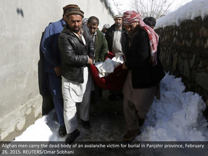 Afghan men carry the dead body of an avalanche victim for burial in Panjshir province, February 26, 2015. REUTERS/Omar Sobhani