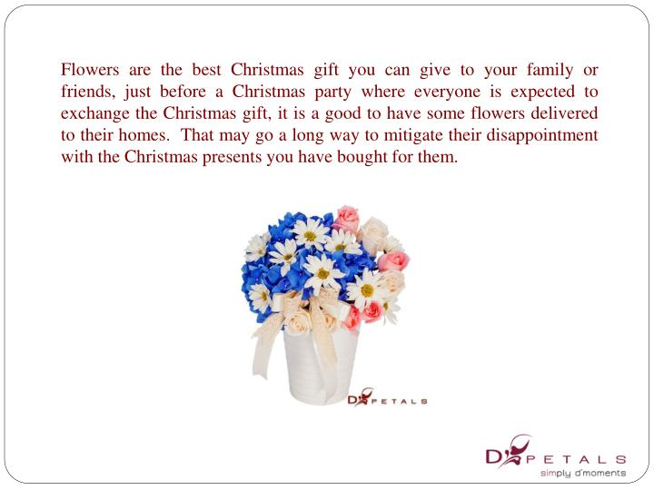 Flowers are the best Christmas gift you can give to your family or friends, just before a Christmas ...