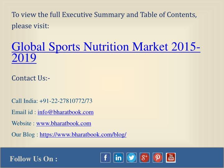 sports nutritional market executive summary