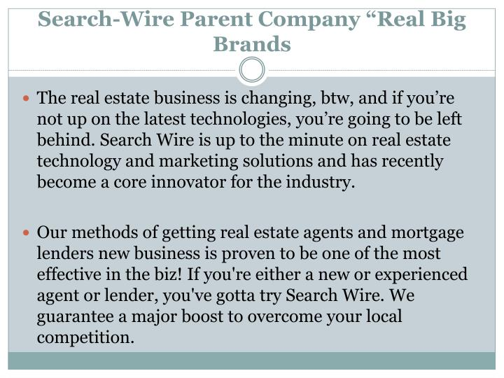 "Search-Wire Parent Company ""Real Big Brands"