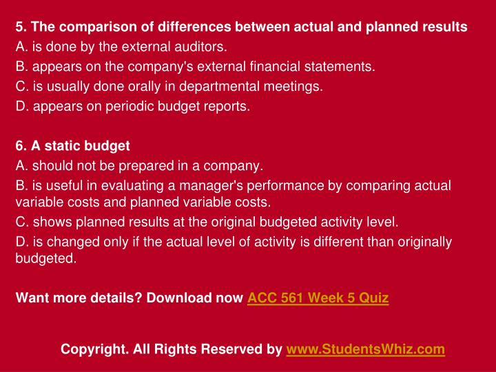 5. The comparison of differences between actual and planned results