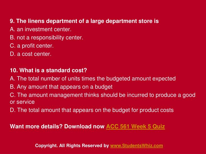 9. The linens department of a large department store is
