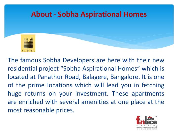 About sobha aspirational homes