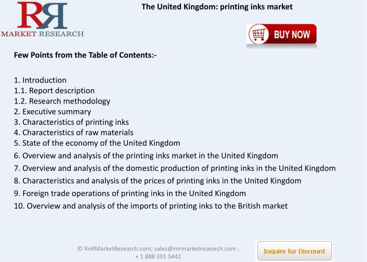 The United Kingdom: printing inks market