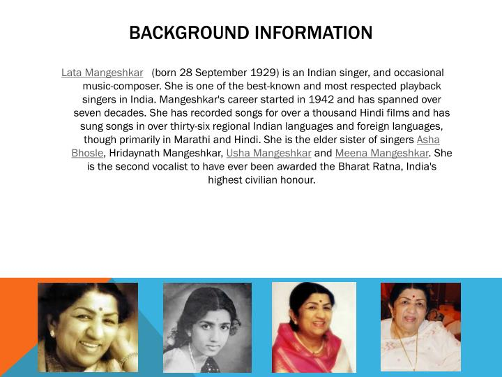lata mangeshkar information in marathi She also sung over many languages but majority in marathi and hindilata mangeshkar lata mangeshkar hit songs and lata hit hindi.