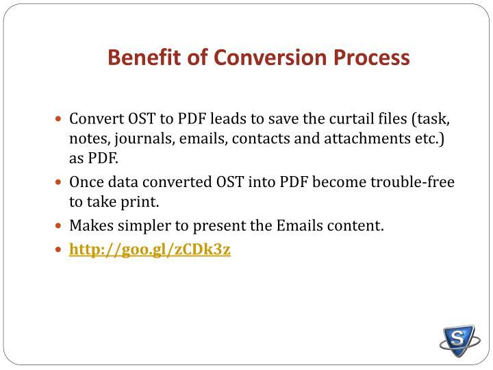 Benefit of Conversion Process