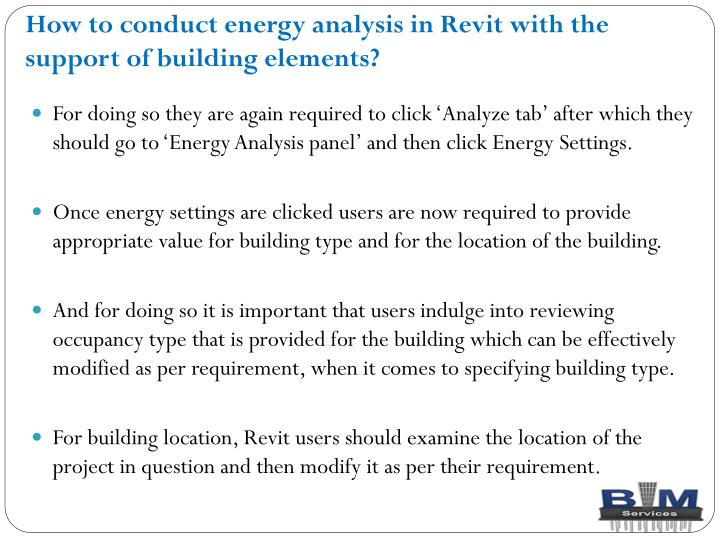 How to conduct energy analysis in Revit with the support of building elements?
