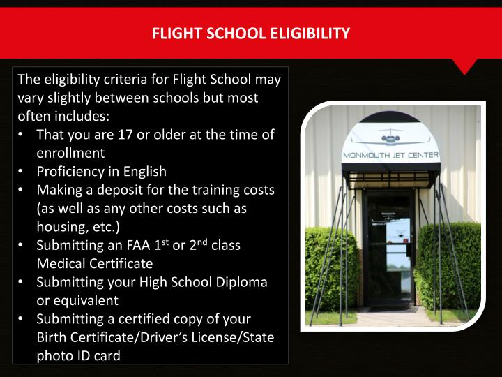 FLIGHT SCHOOL ELIGIBILITY