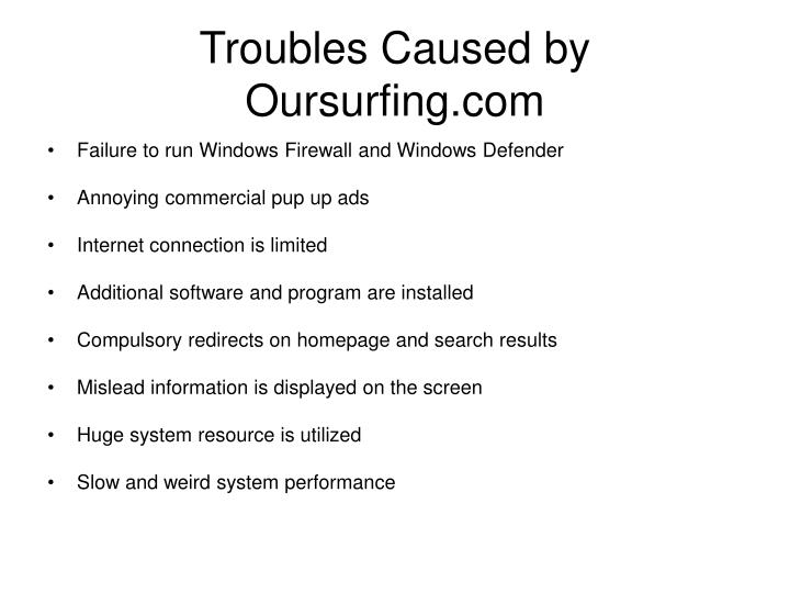 Troubles Caused by Oursurfing.com