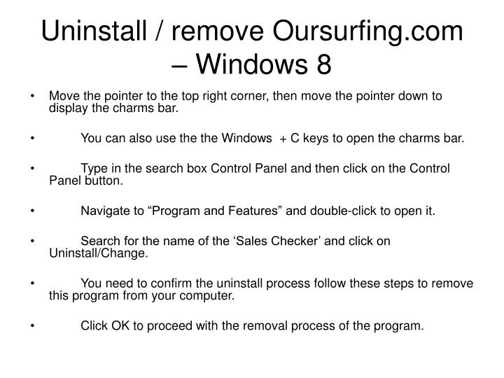 Uninstall / remove Oursurfing.com – Windows 8