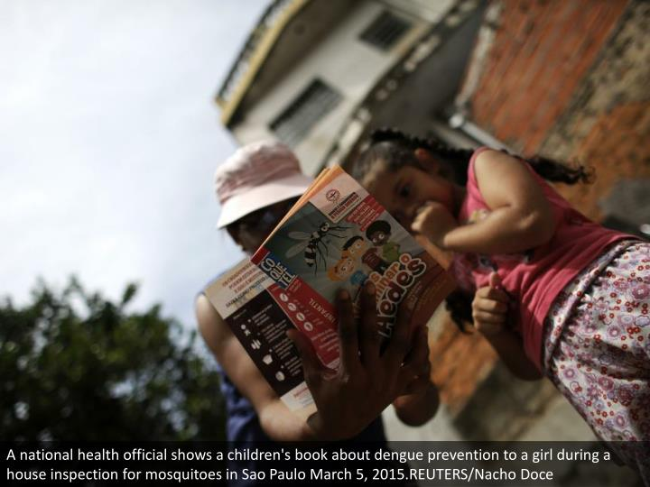 A national health official shows a children's book about dengue prevention to a girl during a house inspection for mosquitoes in Sao Paulo March 5, 2015.REUTERS/Nacho Doce