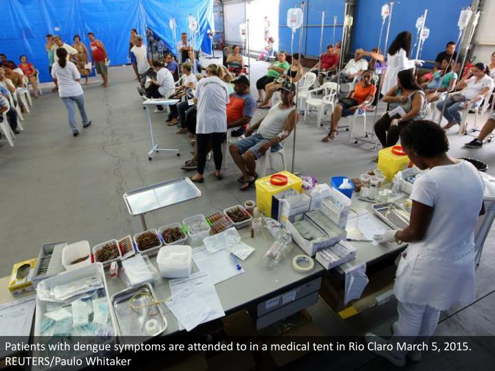 Patients with dengue symptoms are attended to in a medical tent in Rio Claro March 5, 2015. REUTERS/Paulo Whitaker