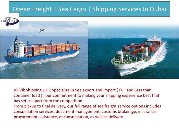 Ocean freight sea cargo shipping services in dubai