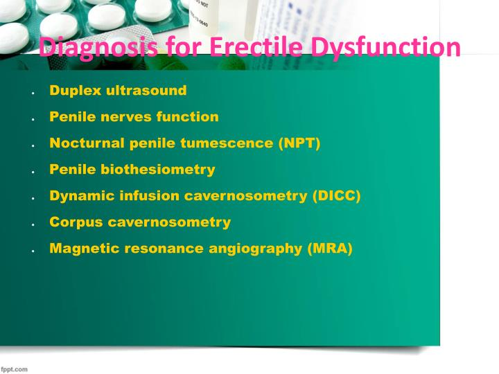 Diagnosis for Erectile Dysfunction