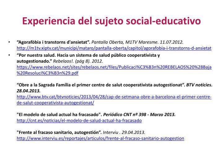Experiencia del sujeto social-educativo