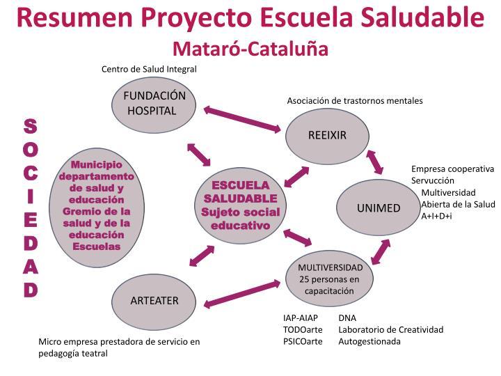 Resumen Proyecto Escuela Saludable