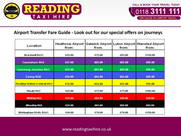 Airport Transfer Fare Guide - Look out for our special offers on journeys