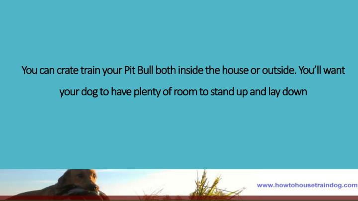 You can crate train your Pit Bull both inside the house or outside. You'll want your dog