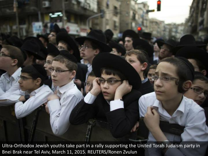 Ultra-Orthodox Jewish youths take part in a rally supporting the United Torah Judaism party in Bnei Brak near Tel Aviv, March 11, 2015. REUTERS/Ronen Zvulun