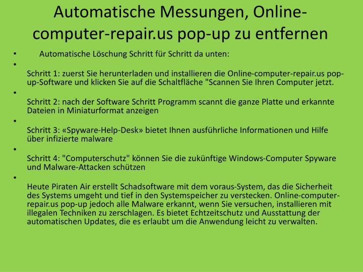 Automatische Messungen, Online-computer-repair.us pop-up zu entfernen