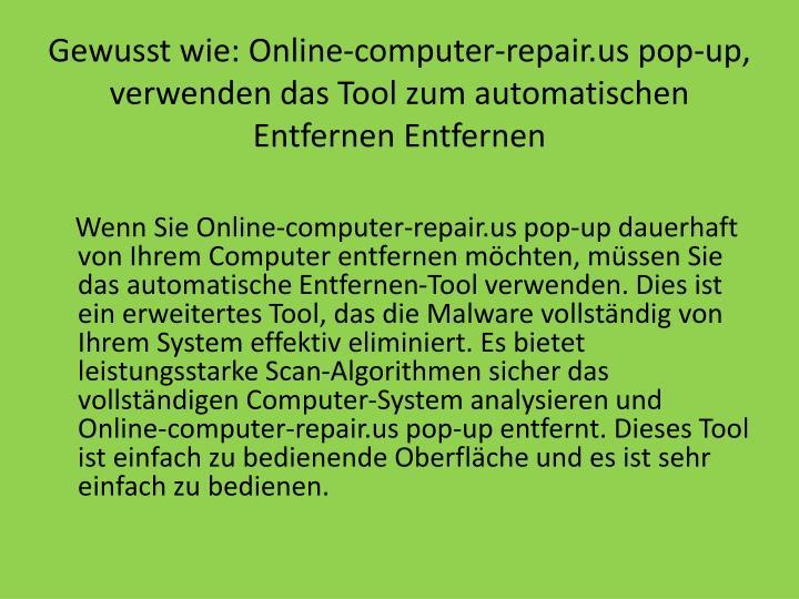 Gewusst wie: Online-computer-repair.us pop-up, verwenden das Tool zum automatischen Entfernen Entfernen