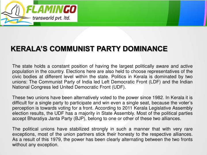 KERALA'S COMMUNIST PARTY DOMINANCE