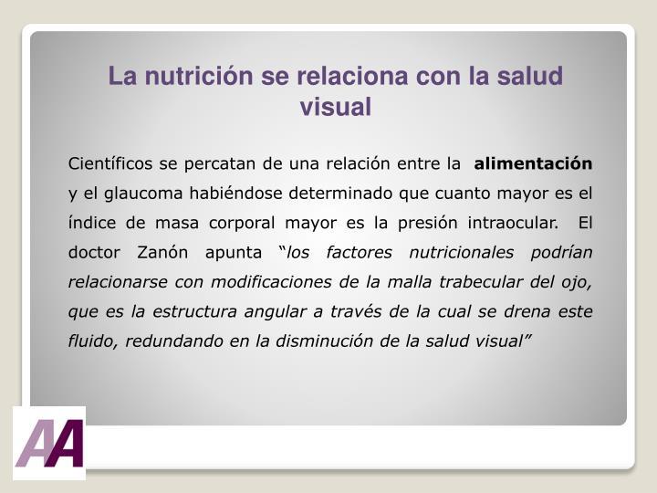 La nutrición se relaciona con la salud visual