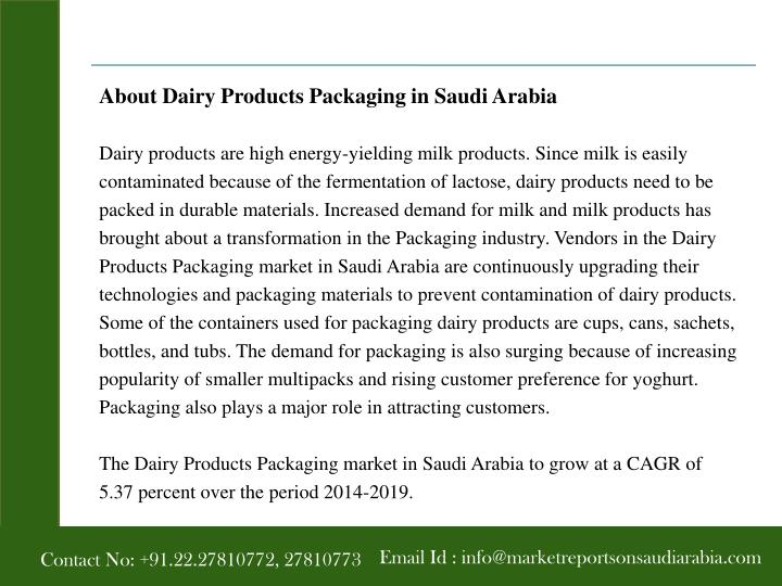 About Dairy Products Packaging in Saudi Arabia