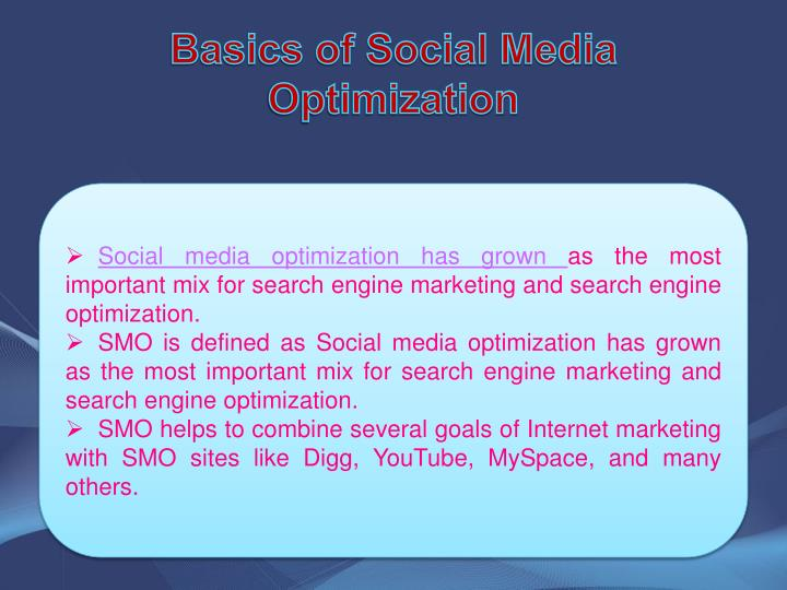 Basics of social media optimization