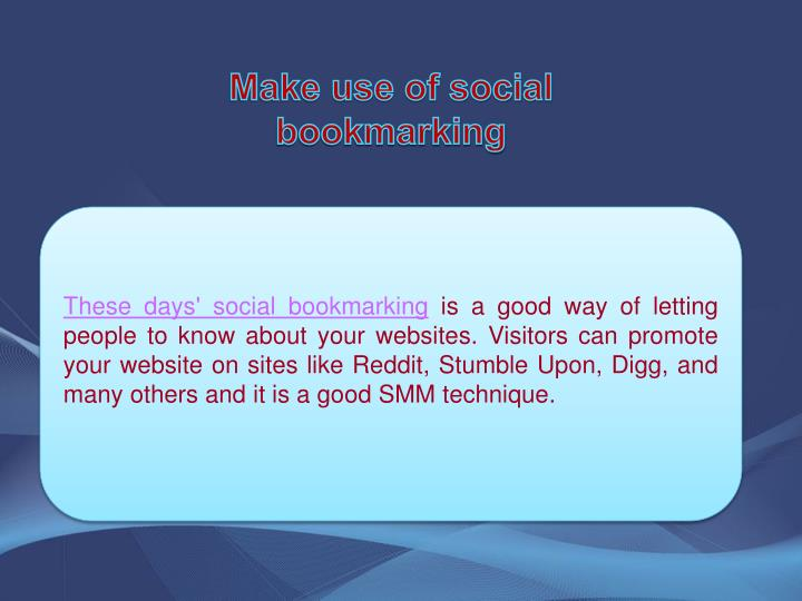 Make use of social bookmarking