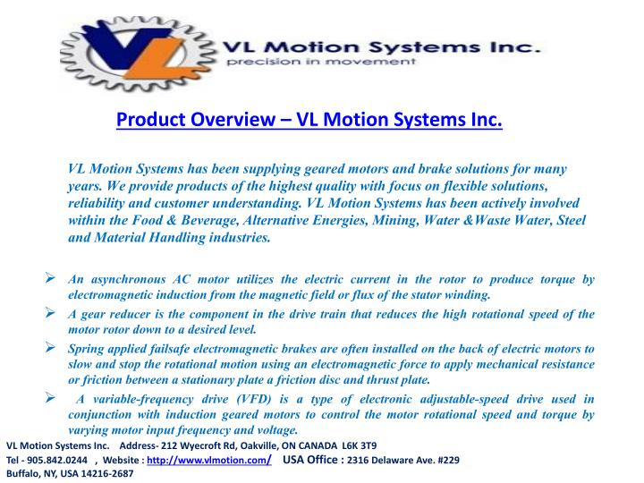 Product Overview – VL Motion Systems Inc.
