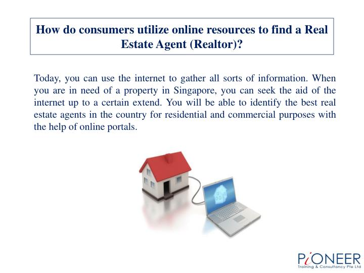 How do consumers utilize online resources to find a Real Estate Agent (Realtor)?