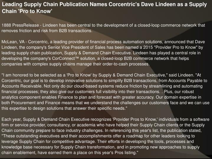 Leading Supply Chain Publication Names Corcentric's Dave Lindeen as a Supply Chain 'Pro to Know'