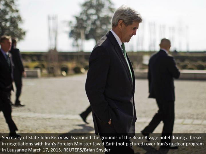 Secretary of State John Kerry walks around the grounds of the Beau-Rivage hotel during a break in negotiations with Iran's Foreign Minister Javad Zarif (not pictured) over Iran's nuclear program in Lausanne March 17, 2015. REUTERS/Brian Snyder