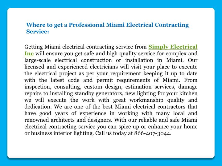 Where to get a Professional Miami Electrical Contracting Service:
