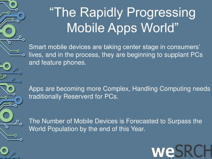 """The Rapidly Progressing Mobile Apps World"""