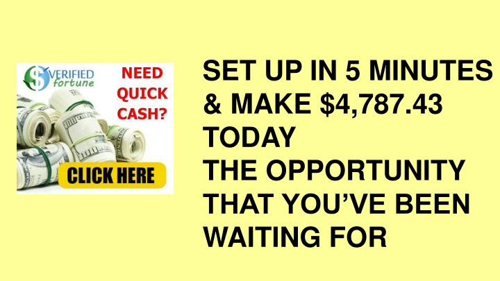 SET UP IN 5 MINUTES & MAKE $4,787.43 TODAY